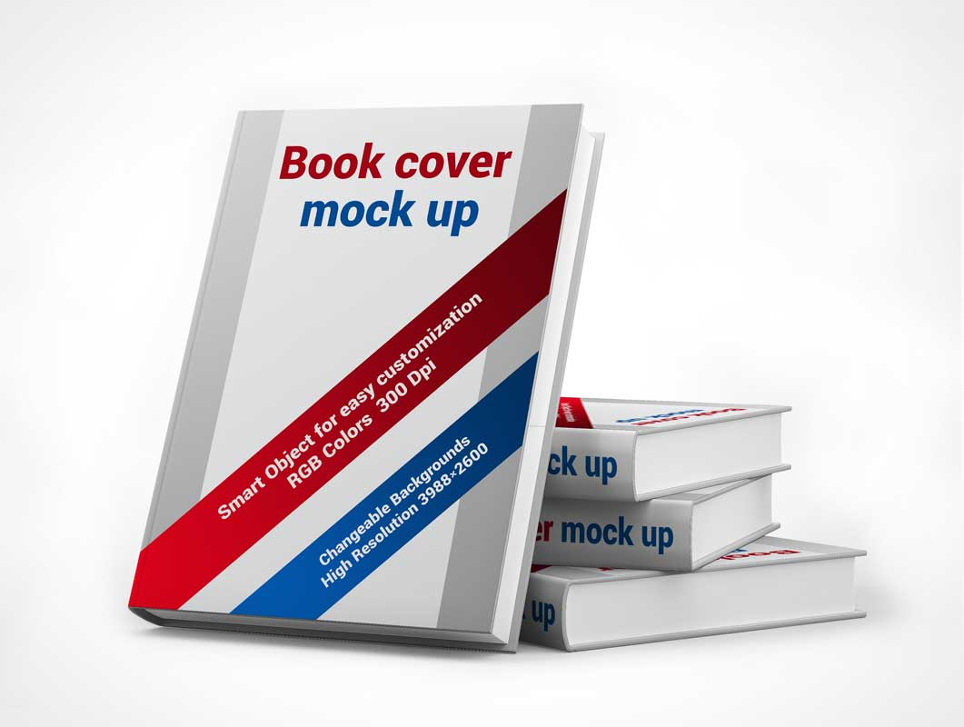 Stacked Books PSD Mockup to Showcase Published Hardcover Product