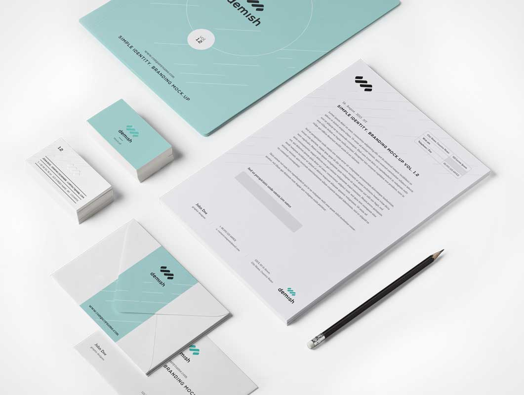 stationery branding psd mockup includes envelopes letterheads business cards - Business Card Envelopes