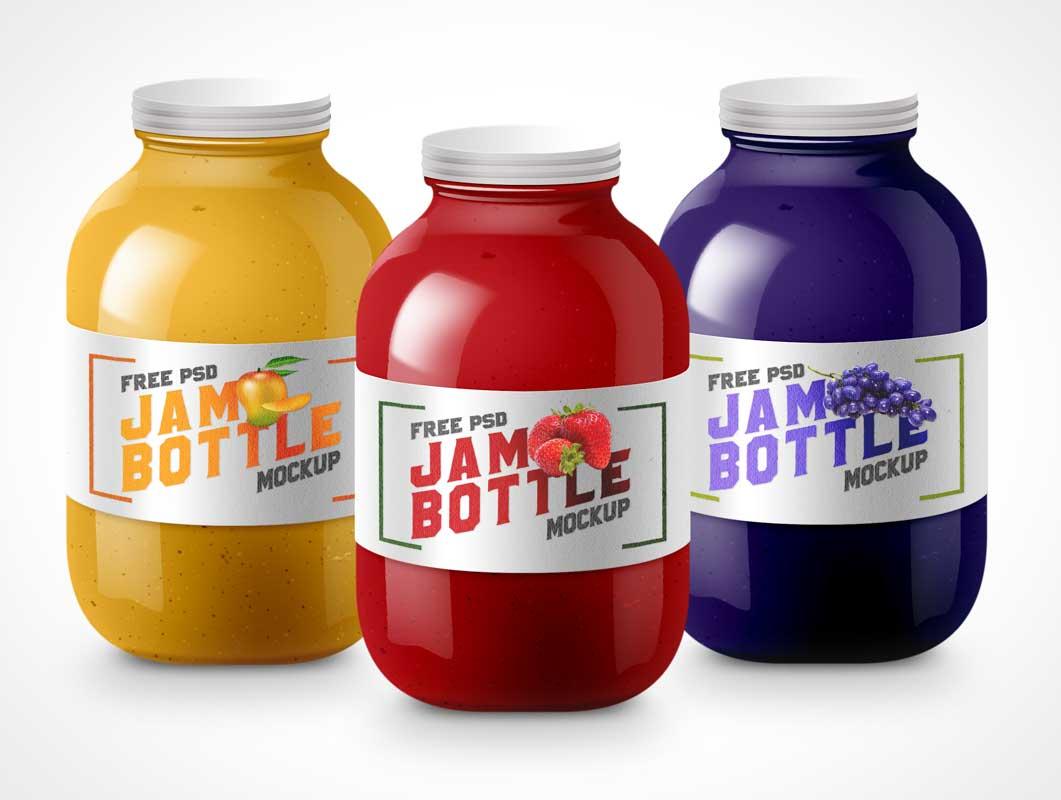 Tin Lid Glass Jam Bottle PSD Mockup