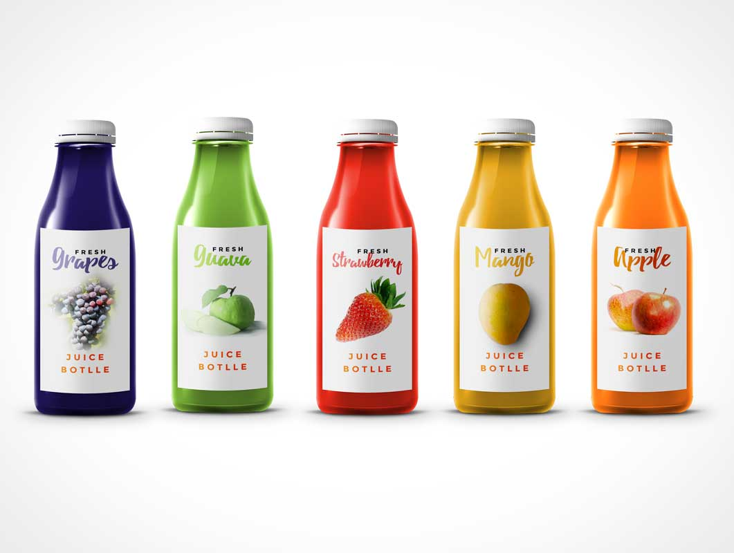 Transparent Plastic Juice Bottle PSD Mockup