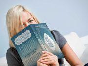 Woman Enjoying Reading Hardcover PSD Mockup