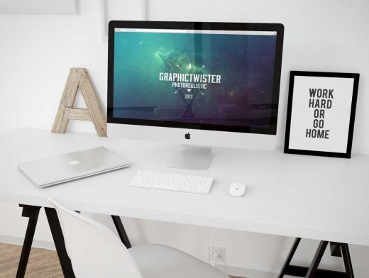 iMac Workspace PSD Mockup Template