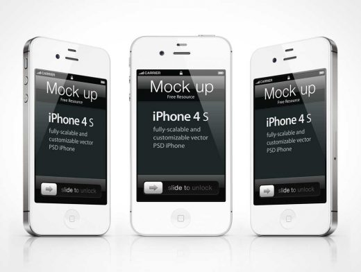 iPhone 4s Psd Vector PSD Mockup Template