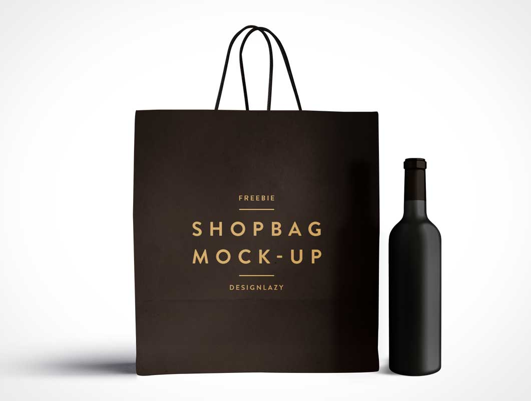 shopping bag and wine bottle psd mockup