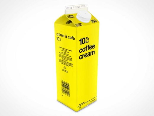 1Litre Milk Carton PSD Mockup Product Shot