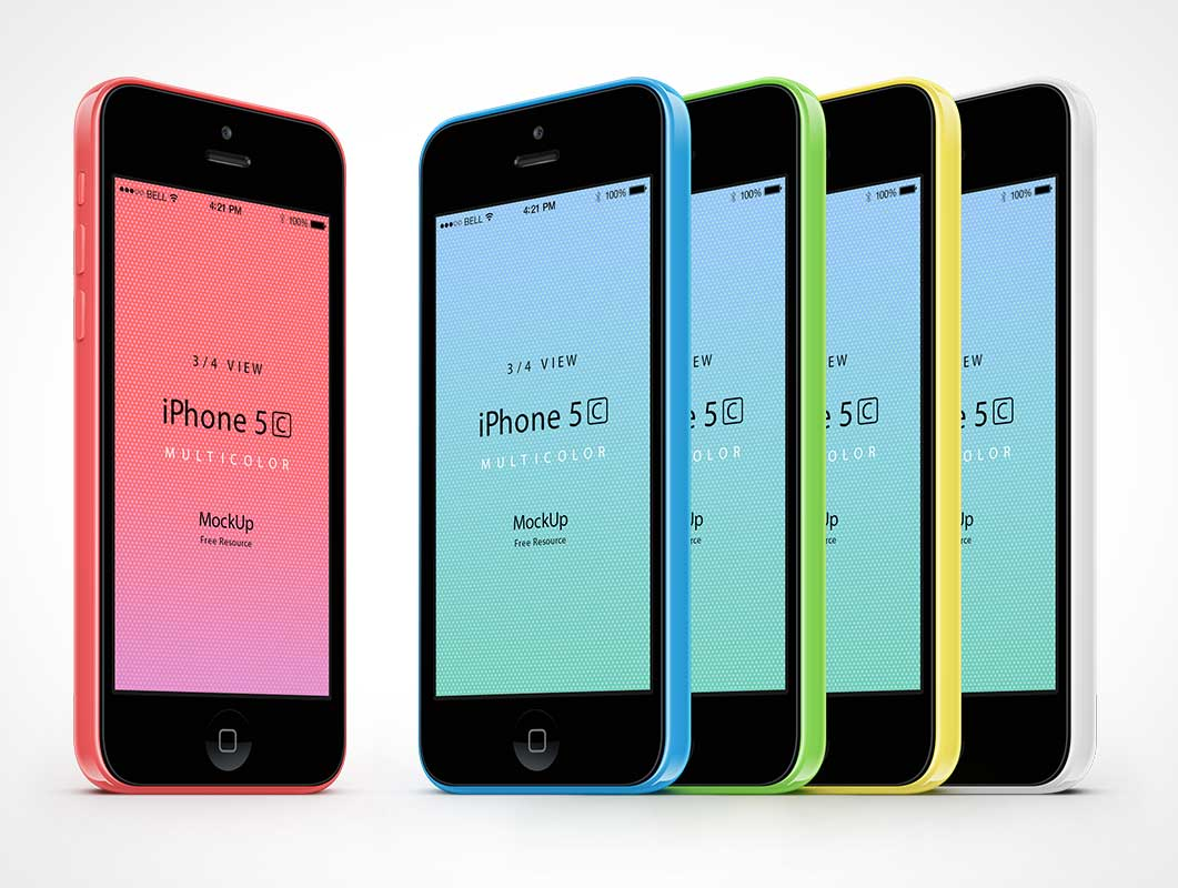 3-4 iPhone 5C Vector Psd Mockup