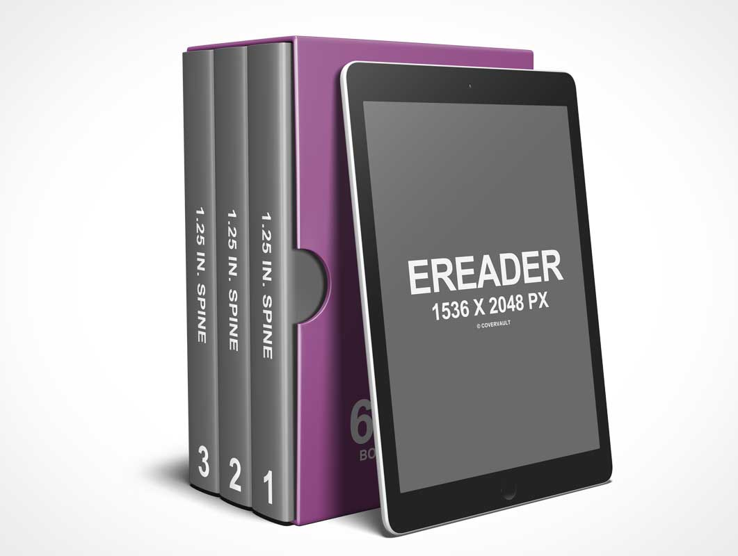 3 Books @ 6 x 9 Box Set with eReader PSD Mockup