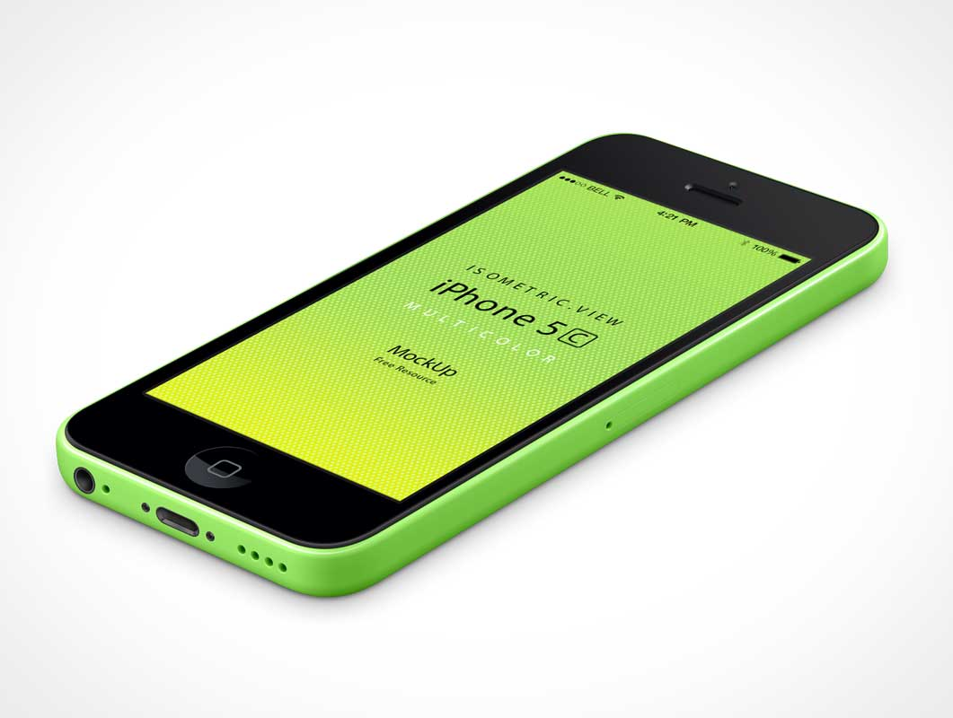 3D View iPhone 5C Vector PSD Mockup