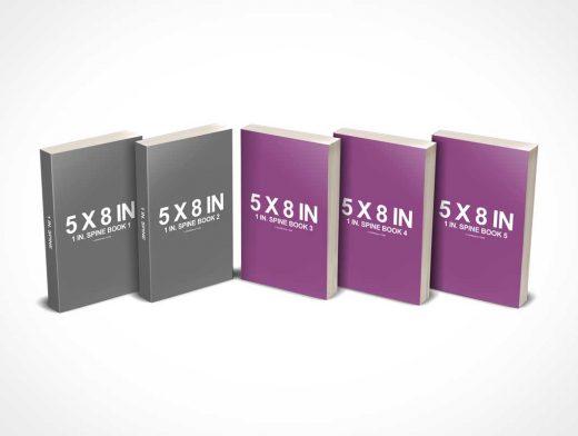 5 x 8 Multi Paperback Book Presentation PSD Mockup