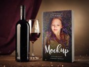 5 x 8 Paperback Book PSD Mockup with Wine Bottle