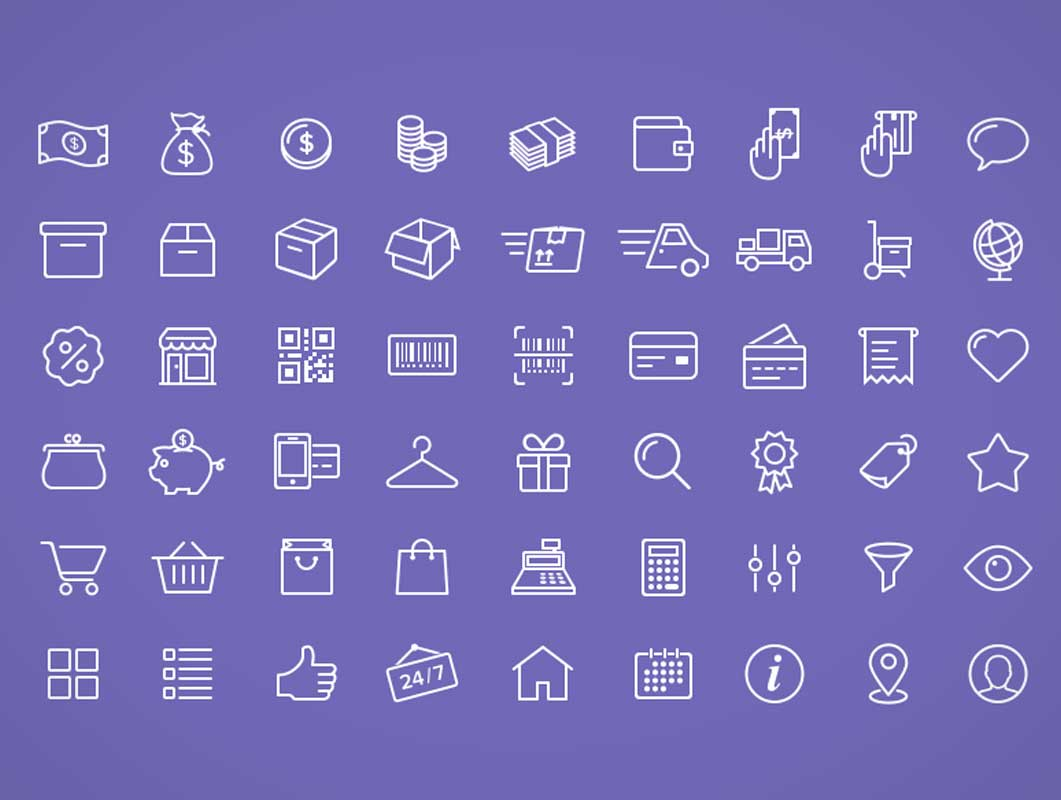 54 Free E-Commerce Icons PSD Format