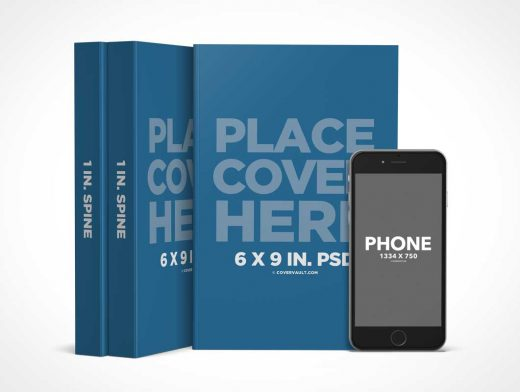 6 x 9 Book Series PSD Mockup with iPhone eReader