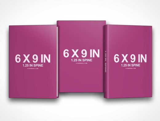 6 x 9 Book Series with Dust Jacket Covers PSD Mockup