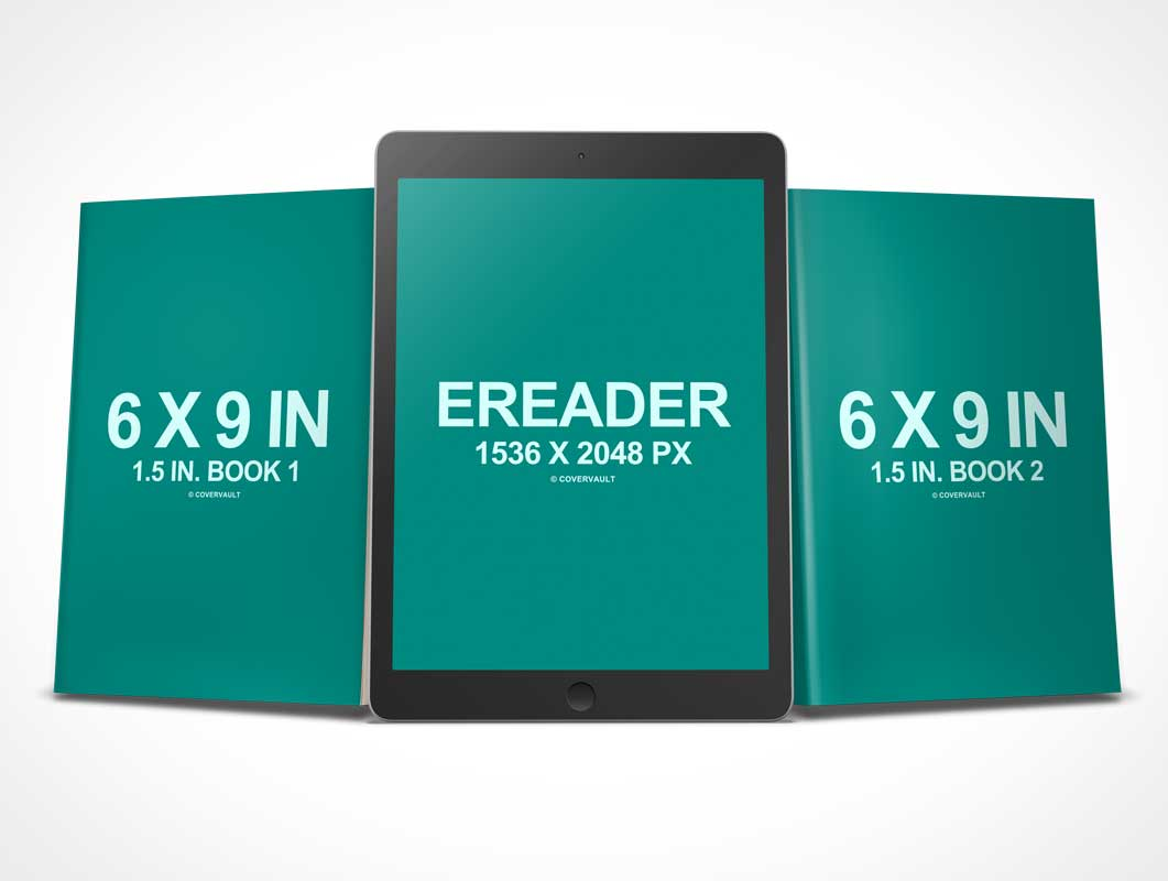 6 x 9 Book Series with eBook PSD Mockup