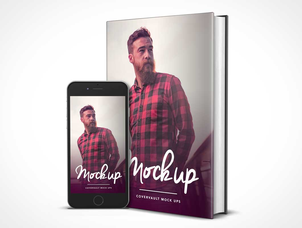 6 x 9 Book with Dust Jacket and iPhone 6 PSD Mockup Portrait Mode