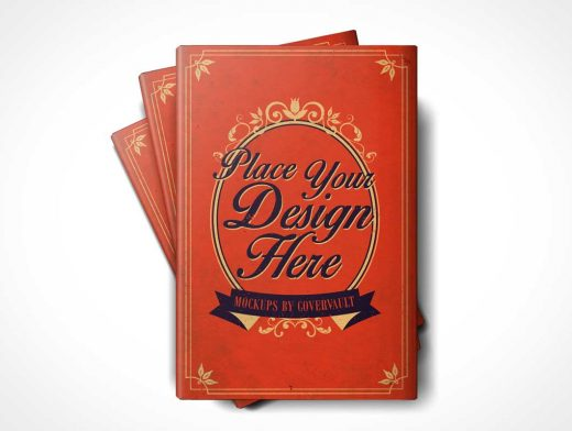 6 x 9 Stack of Hardcover Book PSD Mockups With Dust Jacket