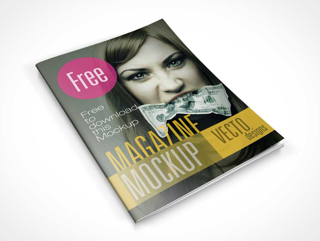 8 Free Magazine PSD Mockups Cover And Page Shots - PSD Mockups