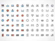 80+ Free Vector Flat Shopping Line Icon Set