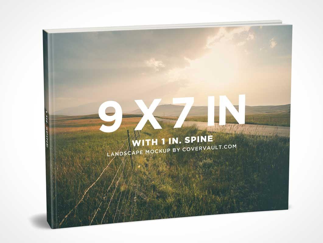 9 x 7 Landscape Paperback Book PSD Mockup With Visible Spine