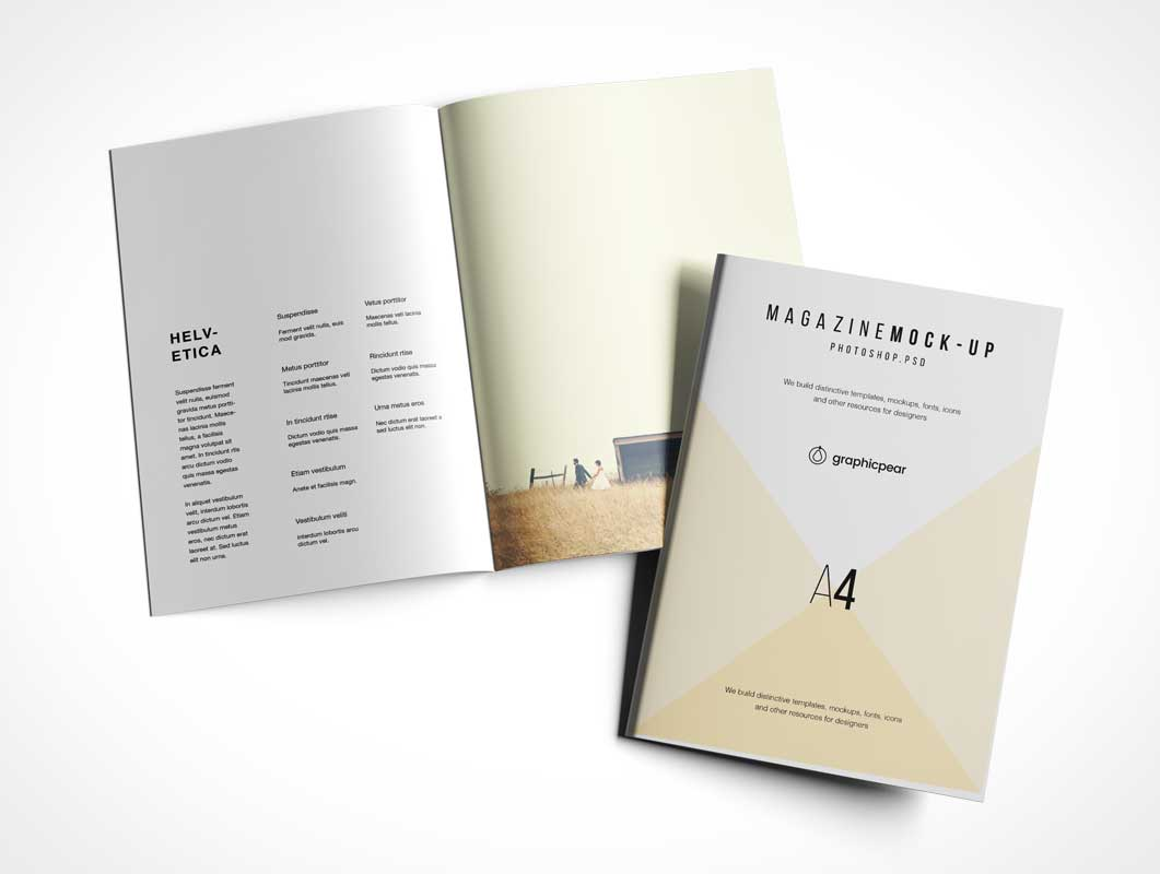 A4 Brochure PSD Mockup Centerfold and Cover