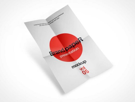 A4 Folded Paper PSD Mockup Floating Midair