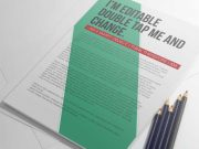 A4 Simple PSD Mockup Paper Stack With Sketch Pencils