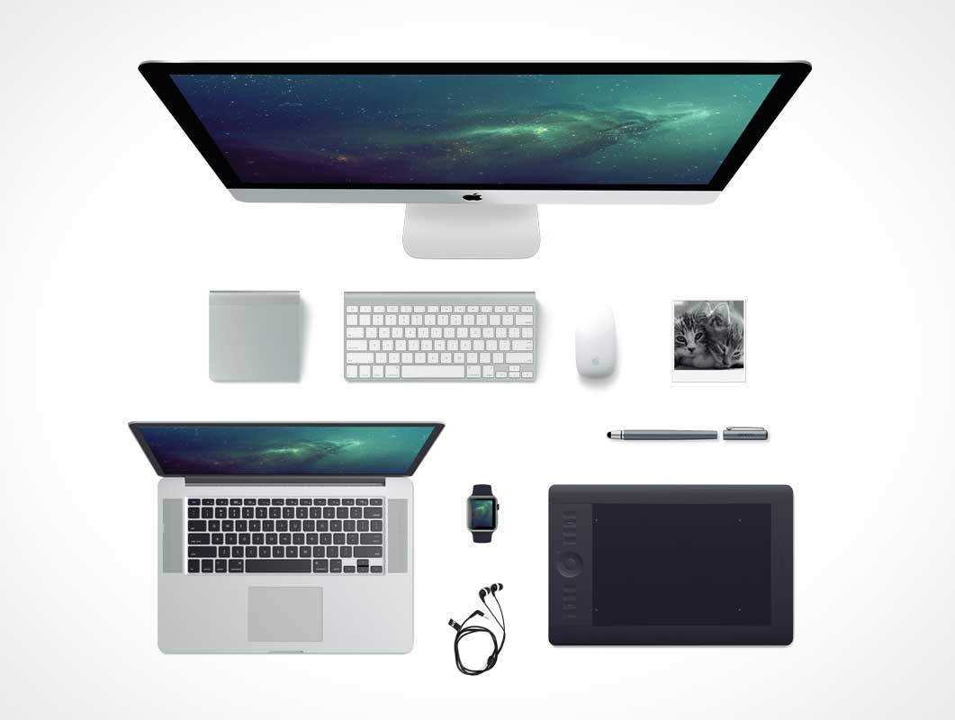 Apple PSD Mockup Scene With iMac MacBook Pro Watch and Keyboard