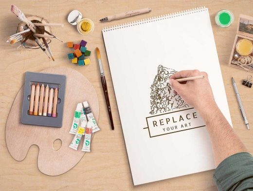 Art Equipments PSD Mockup Scene Generator