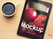 Black Mobile Tablet PSD Mockup With Ceramic Mug