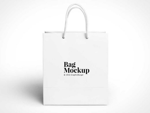 Boutique Paper Shopping Bag PSD Mockup With Rope Carry Handles