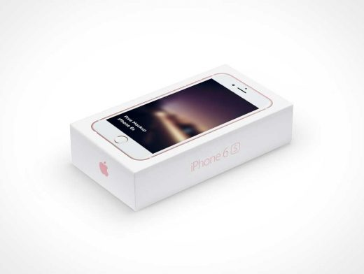 Boxed iPhone 6s PSD Mockup Perspective Shot
