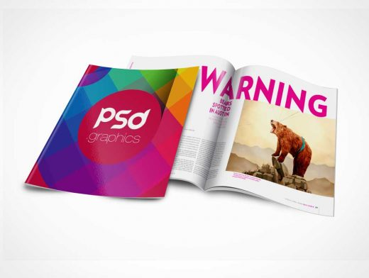 Brochure Magazine PSD Mockup Cover and Centrefold