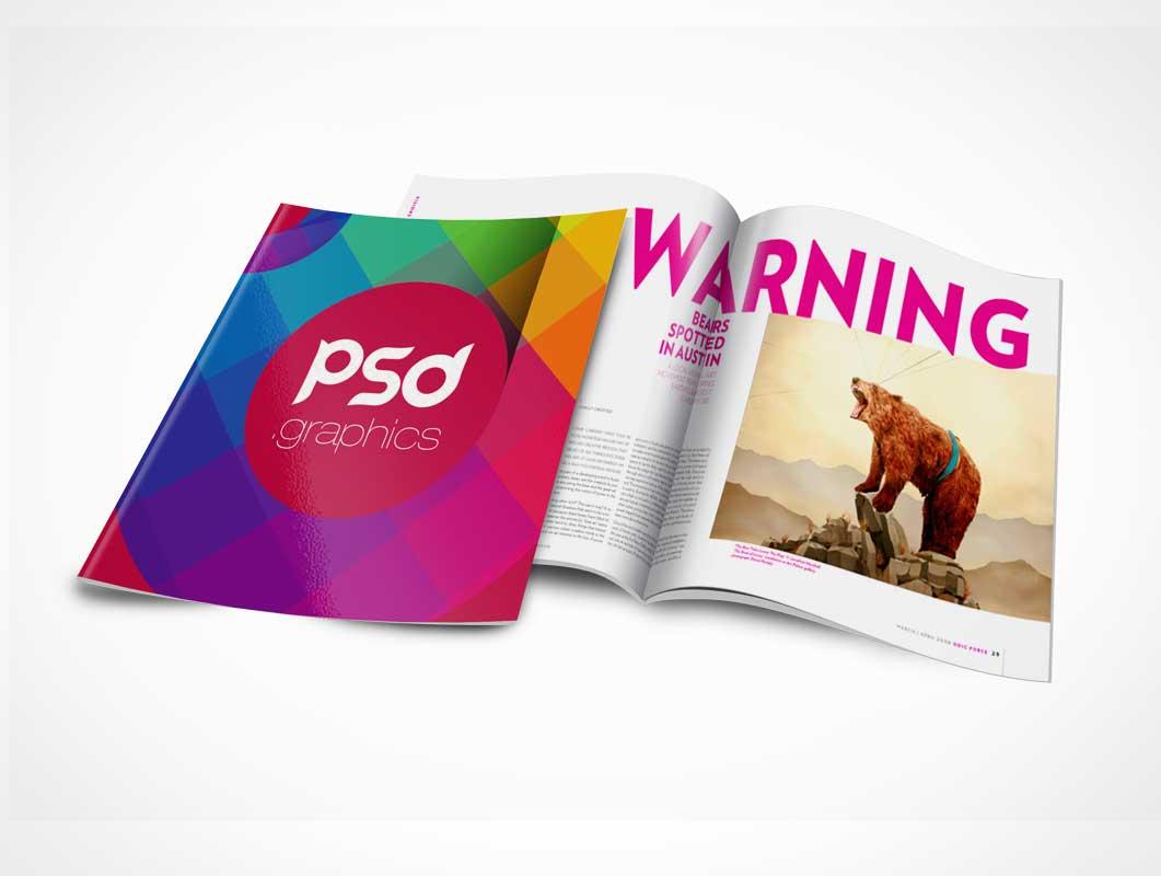Brochure Magazine PSD Mockup Cover and Centrefold