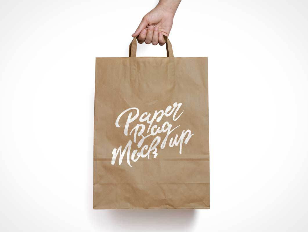 Brown Paper Bag PSD MockUp With Carry Handle