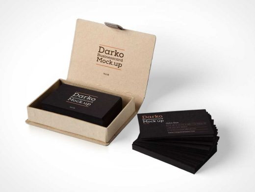Business Card PSD Mockup And Box Packaging Vol18