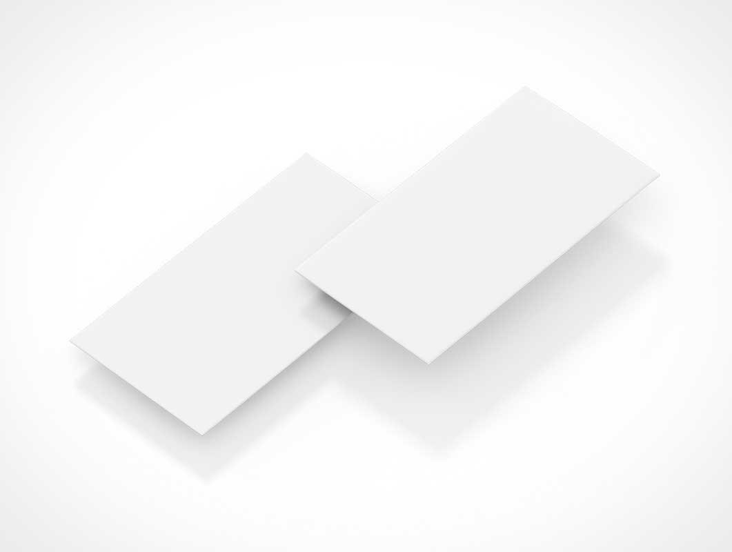 Business Card PSD Mockup Floating Isometric Layout