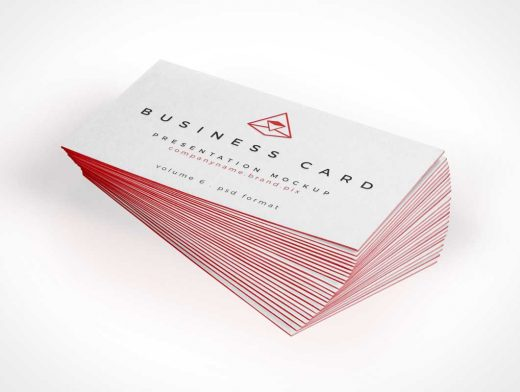 Business Card PSD Mockup Twisted Stack
