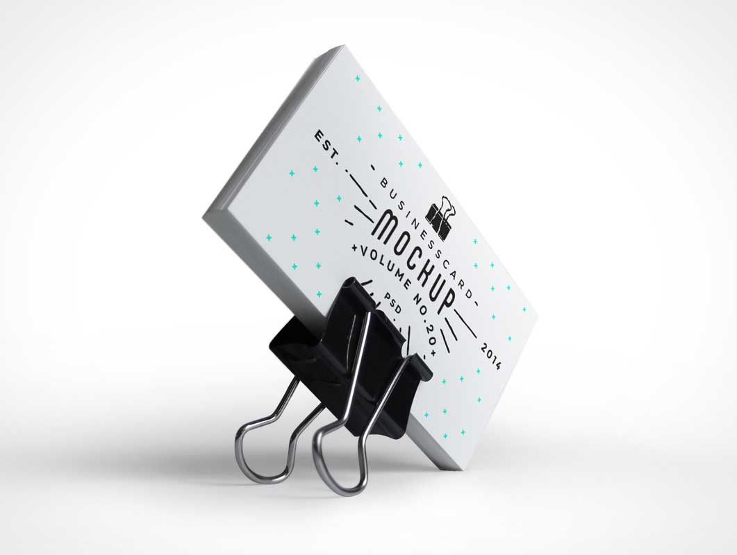 Business Cards PSD Mockup With Binder Clip