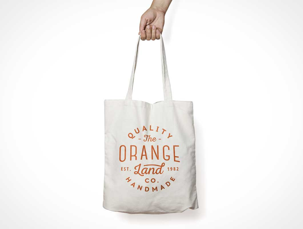 Canvas Tote Bag PSD Mockup With Carry Handle