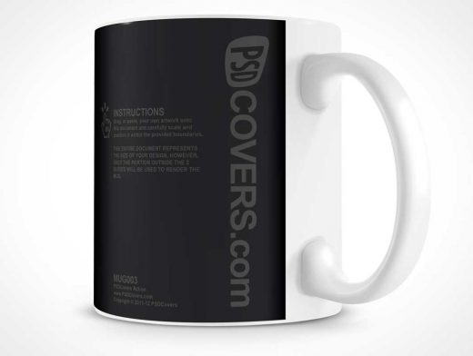Ceramic Coffee Mug PSD Mockup With Handle Out Front
