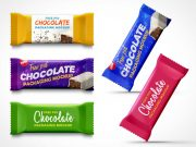 Chocolate Snack Bar Packaging PSD Mockup With Zig Zag Edge
