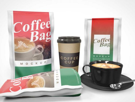 Coffee Beans Bag PSD Mockup Layout With Ceramic And Paper Cups