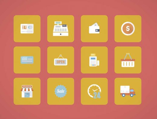 Colored Shopping Icons Vector Illustrator
