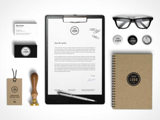 Corporate Stationery Branding PSD Mockup With Spectacles, Seal and Flair