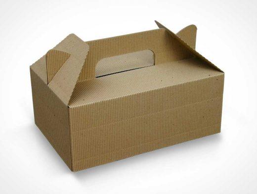 Corrugated Cardboard Fibre Lunchbox PSD Mockup