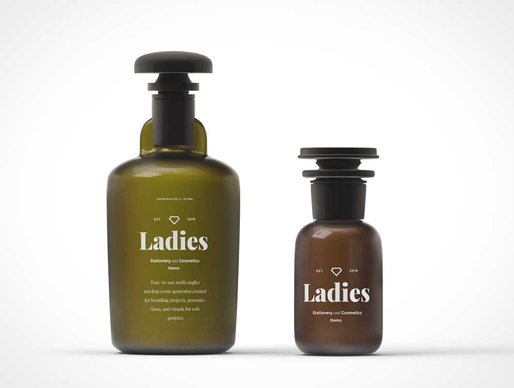Cosmetics Bottles PSD Mockup With Pump Handle