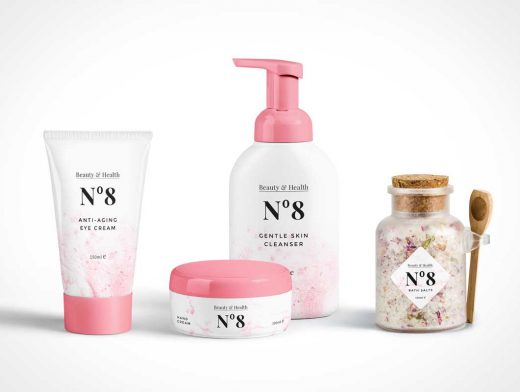 Cosmetics Packaging PSD Mockup Scene With Tube And Bottle