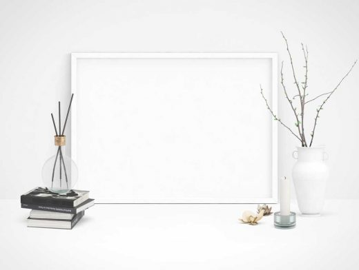 Desk Scene With Poster PSD Mockup Candle And Decorative Vase