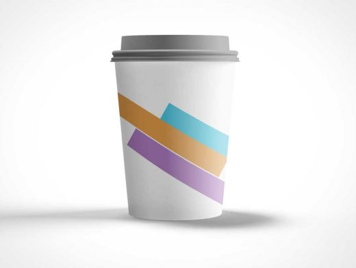 Disposable Paper Coffee Cup PSD Mockup With Plastic Lid