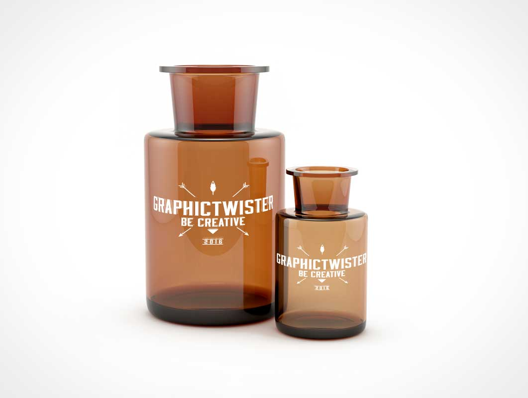 Double Bottle PSD Mockup With Thimble Throat